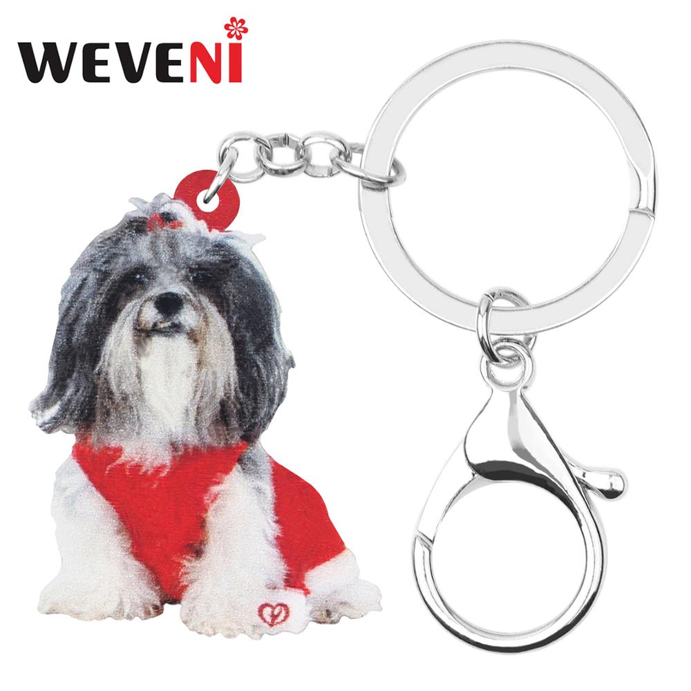 Bonsny Acrylic Christmas Shih Tzu Dog Key Chains Key Rings Bag Car Wallet Decoration Keychains For Women Girl Men Gift Accessory