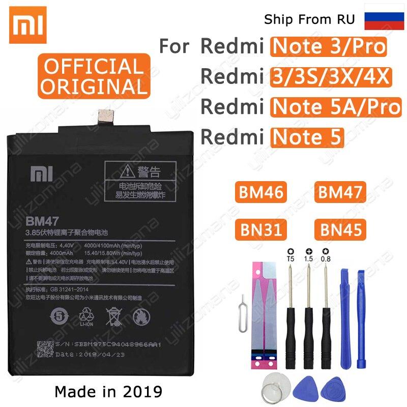 Xiao Mi Original Phone Battery BM47 For Xiaomi Redmi 3 3S 3X 4X 3 pro Note 3 5 5A Pro Mi 5X BM46 BN31 BN45 Replacement Batteries