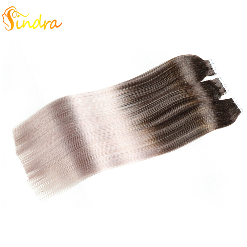 Sindra 100% Real Remy Human Hair Extension Skin Weft Human Hair Mix Colors Straight 40pcs 20pcs Tape In Extension