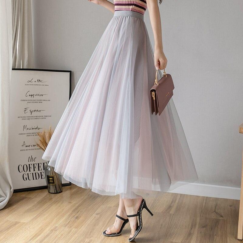Korean Fashion Mesh Skirts Womens Lace Skirt Elegant Women High Waist Pleated Skirts Women Long Midi Skirt Faldas Mujer Moda
