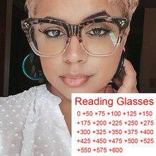 Damskie ponadgabarytowe kwadratowe okulary hiperopijne filtr niebieskie światło komputerowe okulary do czytania rama Vintage eleganckie okulary do czytania