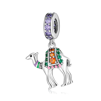 925 Sterling Silver fashion Desert sightseeing camel colorful Zircon beads Fit Original Designer Charm Bracelet Jewelry making
