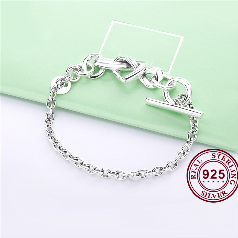 925 Sterling Silver <font><b>Bracelet</b></font> Knotted Heart Heart-embellished T-clasp Link Bangle Fit Women Bead <font><b>Charm</b></font> <font><b>Pan</b></font> <font><b>Bracelets</b></font> Jewelry image