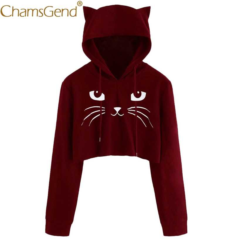 Drop Shipping น่ารักแมวหู Hoodie Sweatshirt ผู้หญิง Harajuku Crop TOP เสื้อแขนยาวเสื้อฤดูใบไม้ผลิฤดูใบไม้ร่วง 912