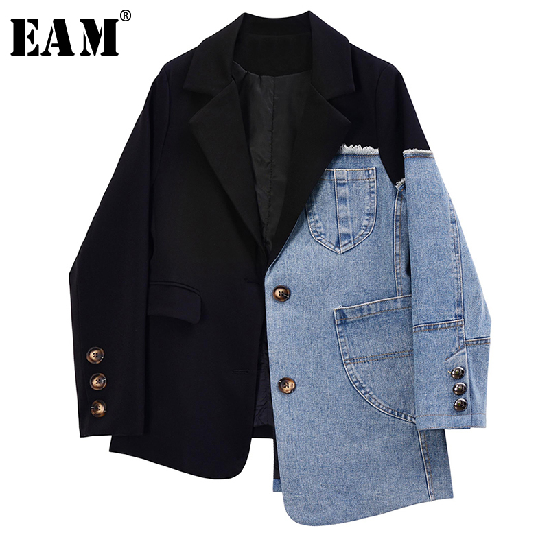 [EAM]  Women Black Asymmetrical Denim Split Blazer New Lapel Long Sleeve Loose Fit  Jacket Fashion Tide Spring Autumn 2020 1R731