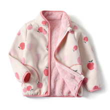New 2021 Clothes 2-12 Yrs Cute Kid and Toddler Girl Pink Fleece Jacket for Spring Fall Winter Clothes with Print Pattern