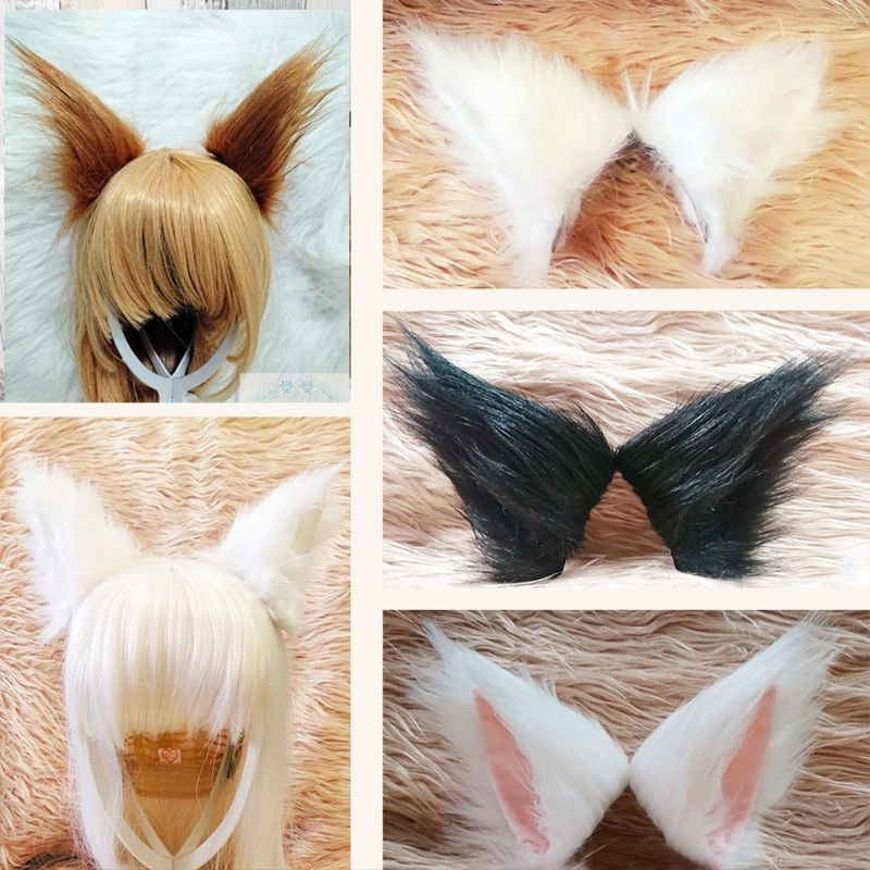 Adult Kids Lolita Anime Cosplay Costume Hairpins Solid Color 9cm Fluffy Plush Long Pointed Cat Wolf Ears Hair Clips Prop
