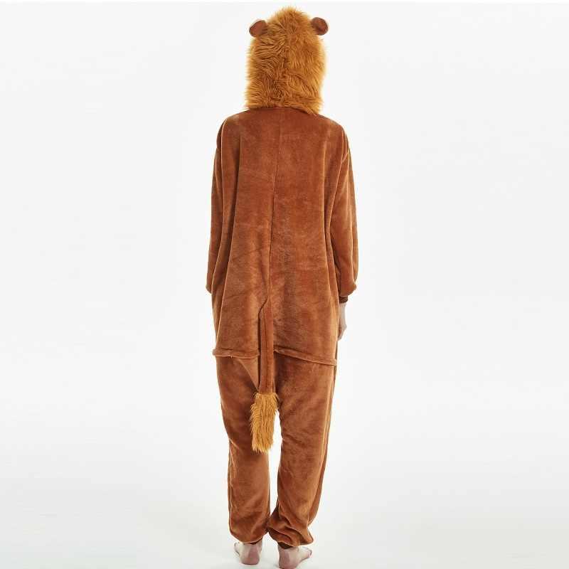 Kigurumi lion manches longues à capuche onsie hommes femmes chaud kigurumi pour adultes ensemble une pièce pyjamas animaux 2019 kegurumi onesie