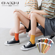 Loose Socks Sox Stacked Spring Neon Thin Soft Girls Green Long Solid-Colors Summer Women