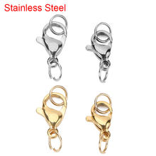 20pcs 10mm 12mm Stainless Steel Lobster Clasps Hooks For Necklace Bracelet Gold Color Connectors Fit Diy Jewelry Making Supplies