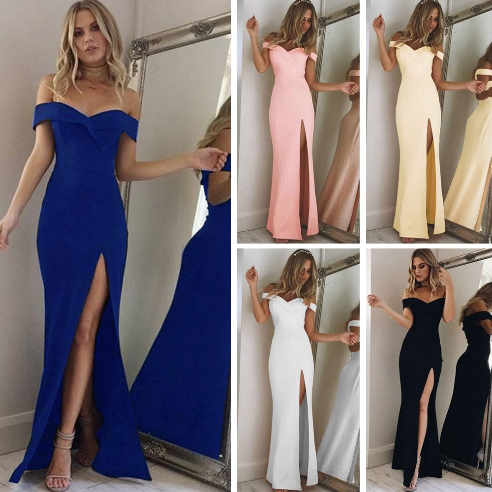 Slim Women's Off Shoulder Split Dresses Casual Long Maxi Evening Party Beach Long Dress V-neck Summer Costume Elegant Long Robe