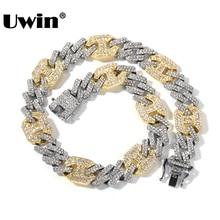 UWIN Luxus Multi Farbe 17mm Strass Legierung Halskette Männer Und Frauen Geschenk Link Kette Hiphop Schmuck Neue Stil Drop verschiffen