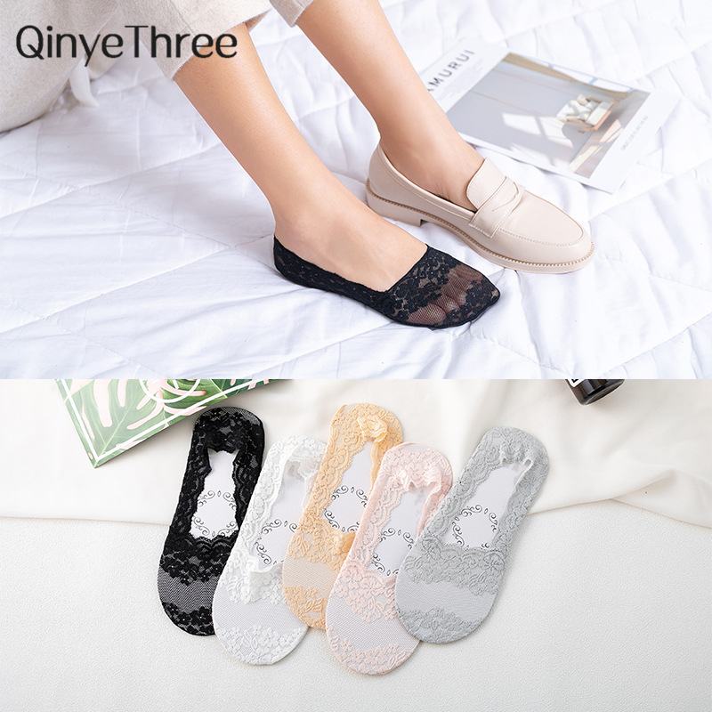 1 Pair Fashion Women Girls Summer Style Lace Flower Short Sock Antiskid Invisible Ankle Socks 2019 Sox Cherry Blossoms Patterned