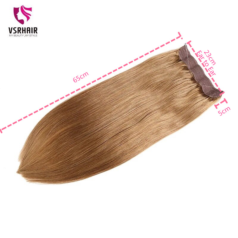 VSR Fish Line Halo Hair 100% Human Hair Exenstions Hair Machine Remy Invisible No Clips In Silky Straight Real Natural