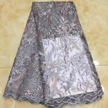 beautiful  color African French net lace fabric with allover embroidery and sequins for party dress TS8990