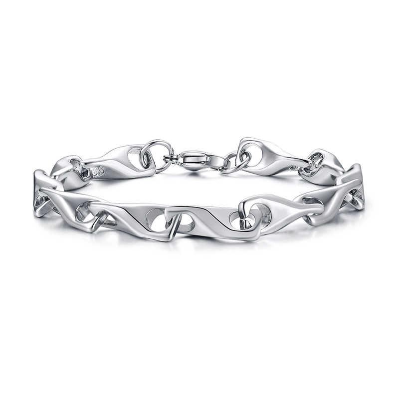 Srebrny wypełniony Twisted Link łańcuchy bransoletka ze stali nierdzewnej Wishbone projekt urok kobiety mężczyźni biżuteria