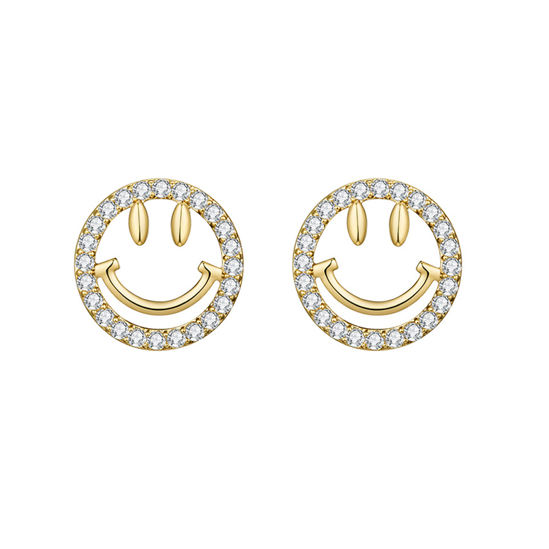 Korean New Lovely Gold Silver Color Smiley Face Stud Earrings Jewelry Simple Round CZ Zircon Crystal Earring For Women Girls