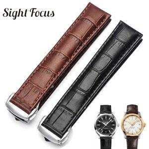 Image 1 - 18mm 19mm 20mm 21mm Bracelet en cuir pour Omega montre vitesse couturière Bracelet fermoir déployant noir marron Bracelet de montre Bracelet ceinture