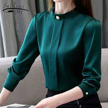 New Slim Elegant Long Sleeve Fashion Chiffon Womens Tops and Blouses Autumn 2019 Loose Solid Women Shirts Plus Size 7013 50(China)