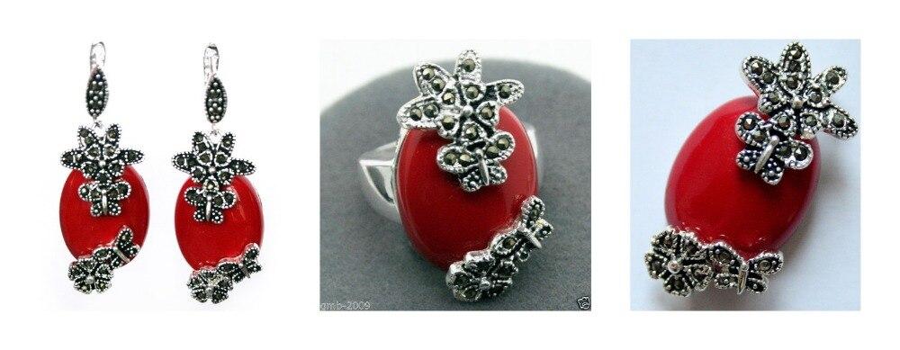 Bague en argent Sterling 925 Marcasite en laque sculptée rouge à la mode (#7-10) boucles d'oreilles et ensembles de bijoux Pandent