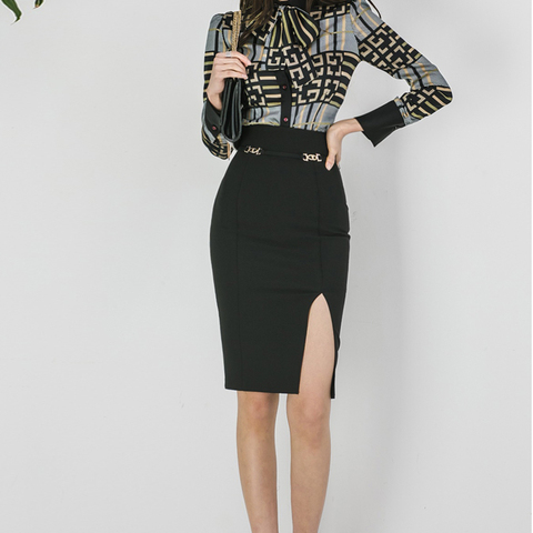 2 Piece Sets Women 2019 Summer autumn Office Lady Top Shirt Bodycon Pencil Skirt Knee-Length Eleagnt Slim Suit sets Islamabad