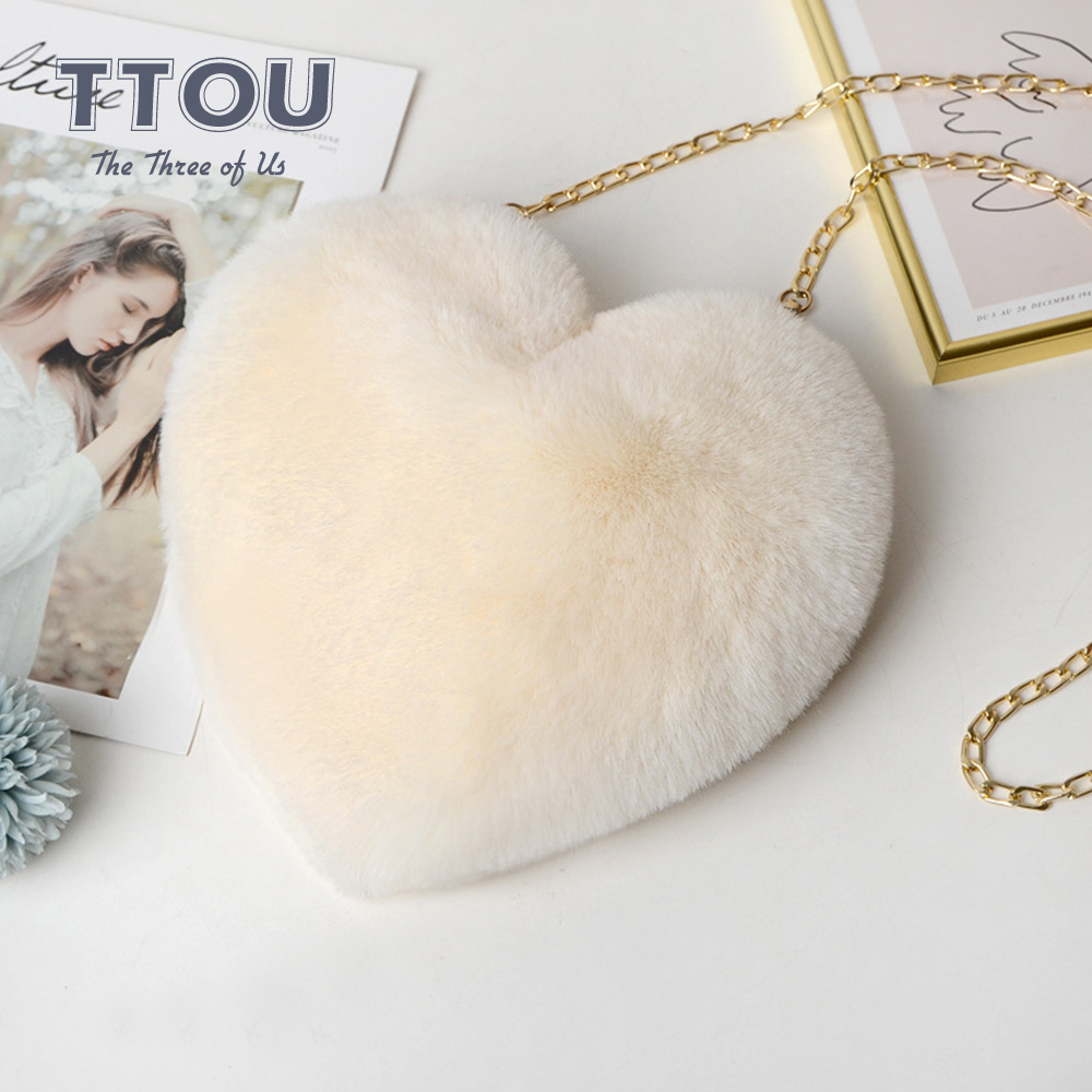Fashion Women Heart Shaped Bag Furry Handbag Wool Ball Shoulder Bags Ladies Messenger Bags Small Chain Ladies Shoulder Bags