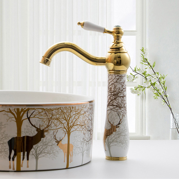 Basin Mixer Faucet Golden Brass and Ceramic Bathroom Sink Faucet Deck Mounted Water Tap Hot and Cold Mixer Taps Crane Faucets