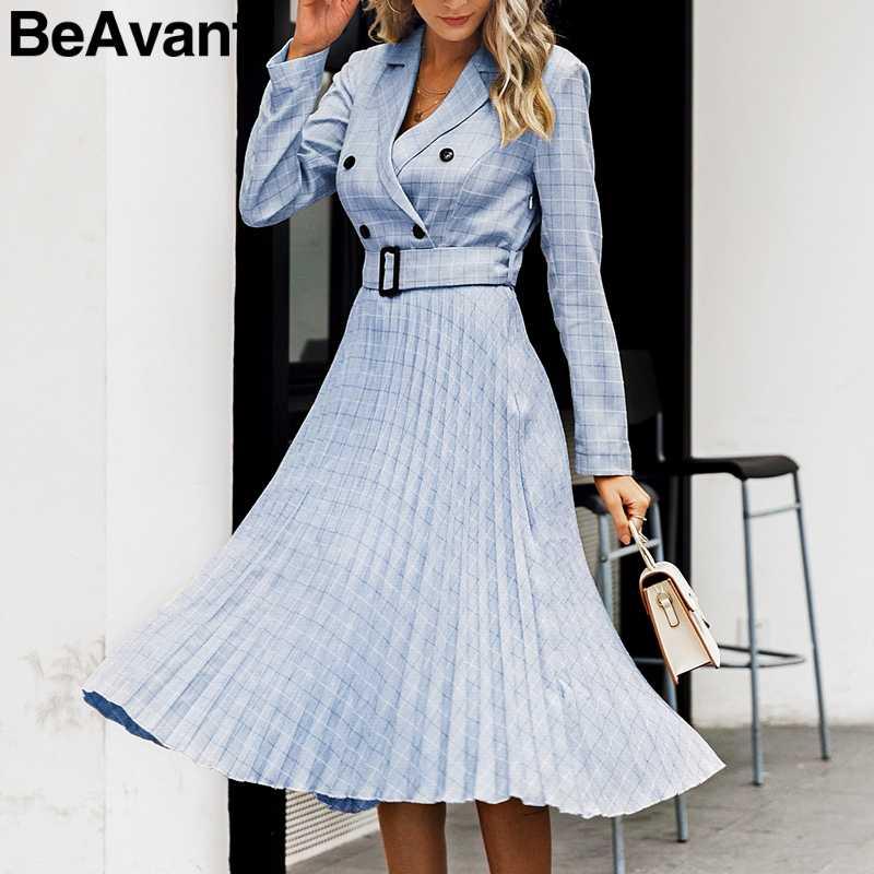 BeAvant двубортное офисное платье женские элегантные трапециевидные пояса клетчатый Блейзер платья женские с длинным рукавом Плиссированные женские платья
