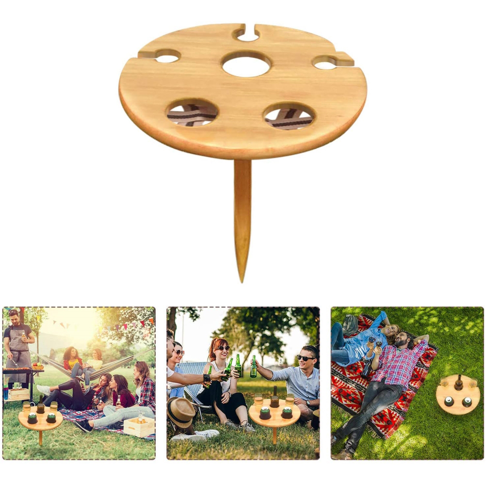 Wine Table Portable Wine Glass Rack Wooden Picnic Table For Home Outdoor Garden Travel Camping A Foldable Creativity Table