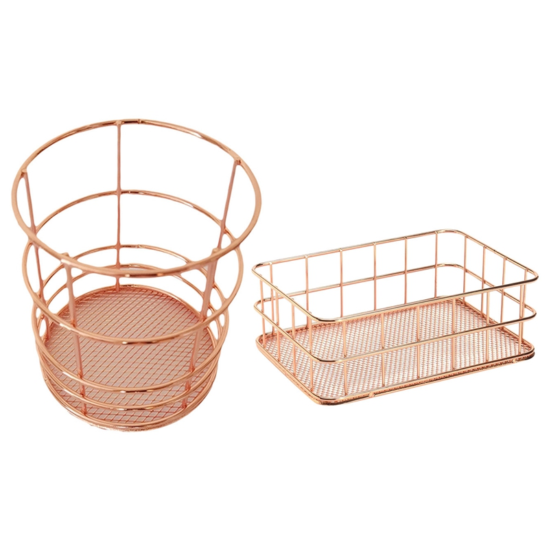 2 Pcs Rose Gold Wire Mesh Storage Basket Pen Holder Organizer: 1 Pcs Round Iron Mesh Stationery Pen Cup & 1 Pcs Metal Wire Bathr