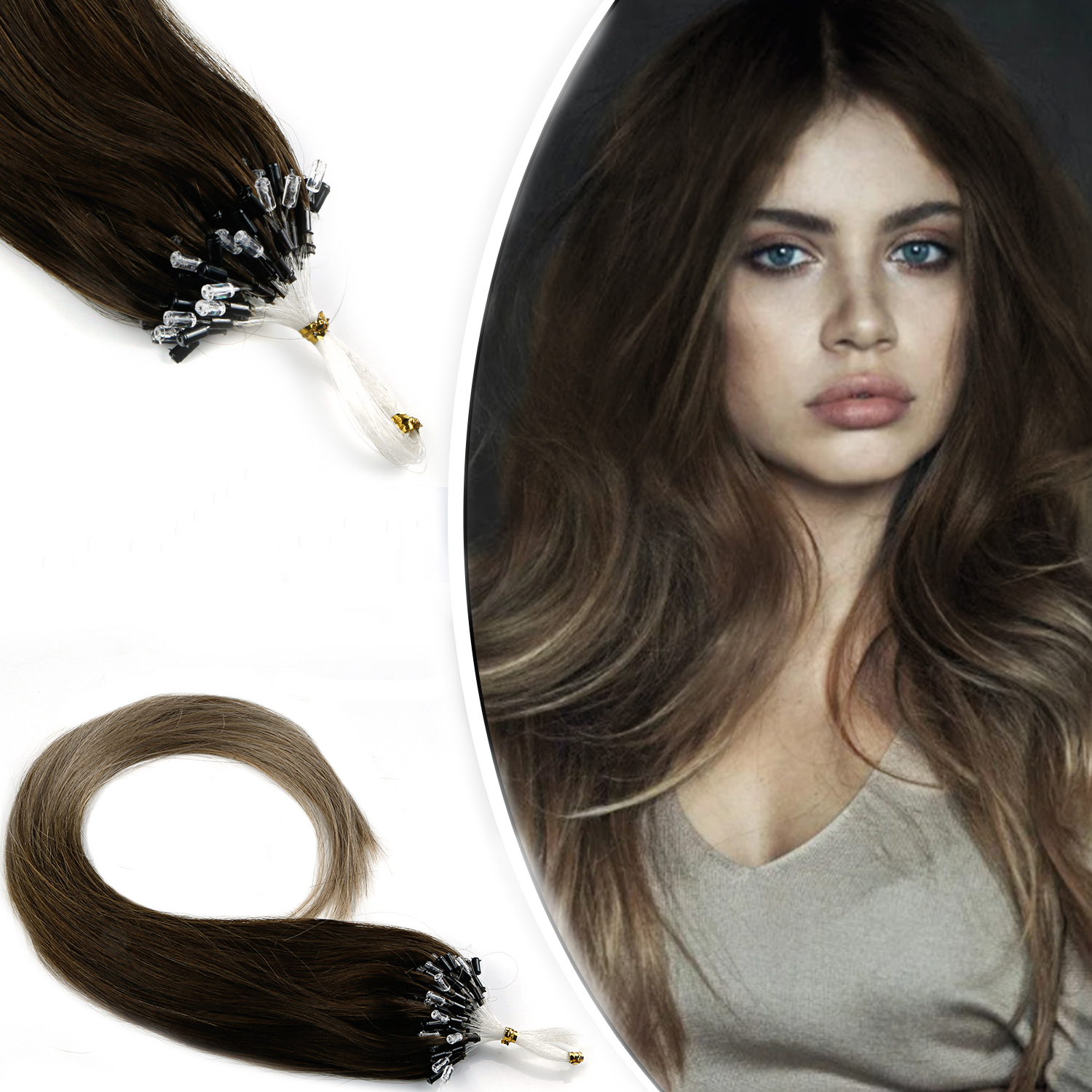 WIT 14 Colors Micro Ring Hair Straight Loop 100% Human Micro Bead Links Machine Made Remy Hair Extension 16-20 Inch 1g/s 50g