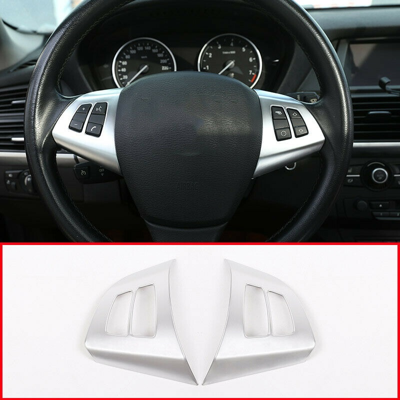 Accessory Steering wheel <font><b>trim</b></font> Parts Matte 2pcs For <font><b>BMW</b></font> X5 <font><b>E70</b></font> 2008-2013 image