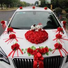 2019 Auto Decorazione di cerimonia nuziale Fiori Finti Fiori Rosa con Lorso Fiori di Seta di Cerimonia Nuziale Del Partito Decorativo Corona Artificiale Ghirlanda