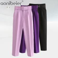 Aonibeier – pantalon de bureau élégant pour femmes, taille haute, droit, ceinture, longueur cheville, costume, ceintures, poches, décontracté