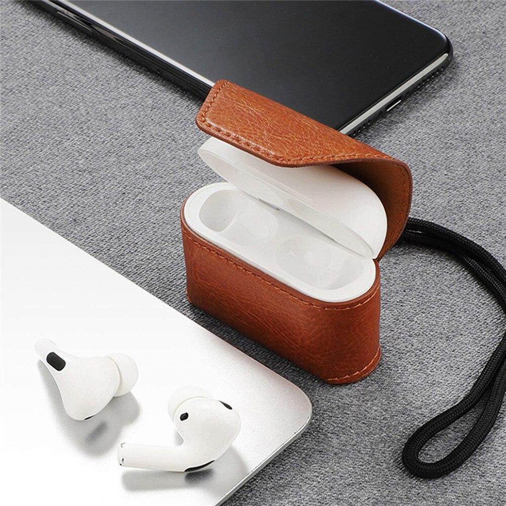 Bolsa de almacenamiento magnético Funda de cuero funda protectora caja de carga para Apple AirPods Pro/AirPods 3 auriculares Bluetooth Accesorios