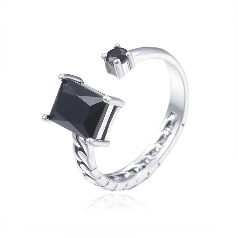 Black Zircon Couple Ring Sterling 925 Silver Rings For Women Open Lovers Ring Anillos De Plata 925 De Ley Mujer Fine Jewelry
