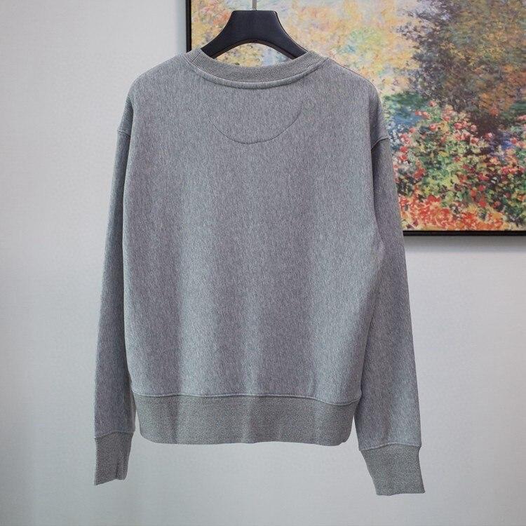 Women's Hoodie Round Neck Pullover Grey Long-sleeved Simple Letter Sweatshirt
