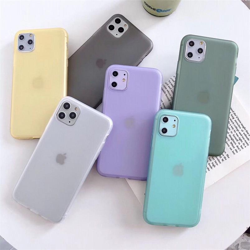 투명 캔디 컬러 솔리드 매트 전화 케이스 아이폰 7 8 6 6s 플러스 11 프로 맥스 x xr xs 맥스 소프트 tpu 실리콘 뒷면 커버 케이스