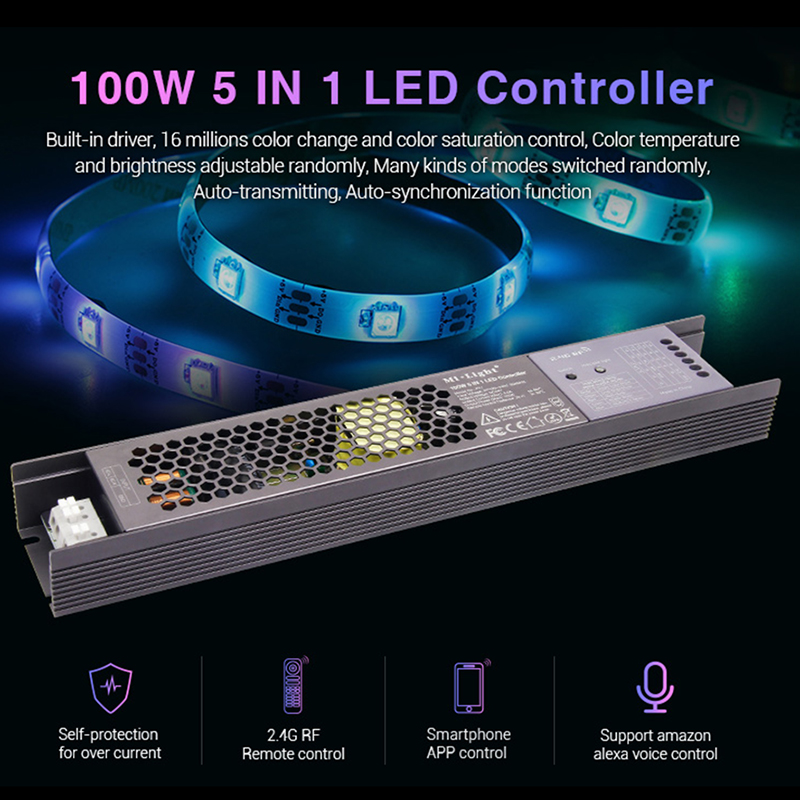 Miboxer 100W 5 IN 1 LED Controller PX1 2.4G RF/APP/alexa Voice Control Built-in Driver Controller For DC24V LED Strip Light