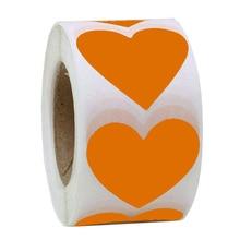 500pcs/2inch silver foil label yellow handmade scrapbook sticker heart shape self-adhesive decorative