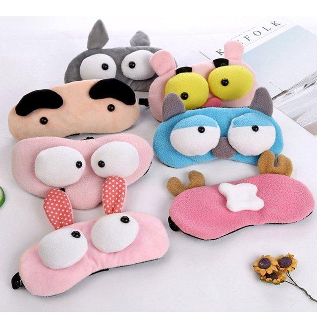 Korean Version Of Cute Cartoon Plush Big Eyes Sleep Eye Mask Rest Shading Eye Ice Pad Eye Mask Ice Mask
