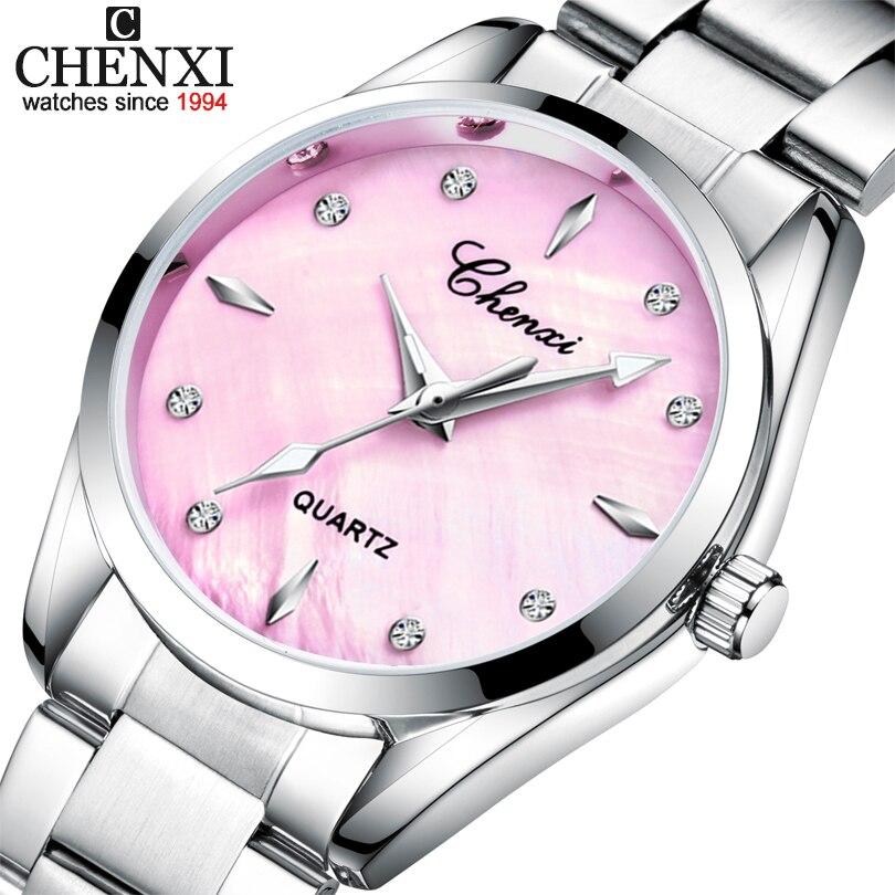 CHENXI Women Dress Watch Quartz Clock Ladies Watches 4 Colour Fashion Shell Dial Elegant Women's Wrist Watches Relogio Feminino