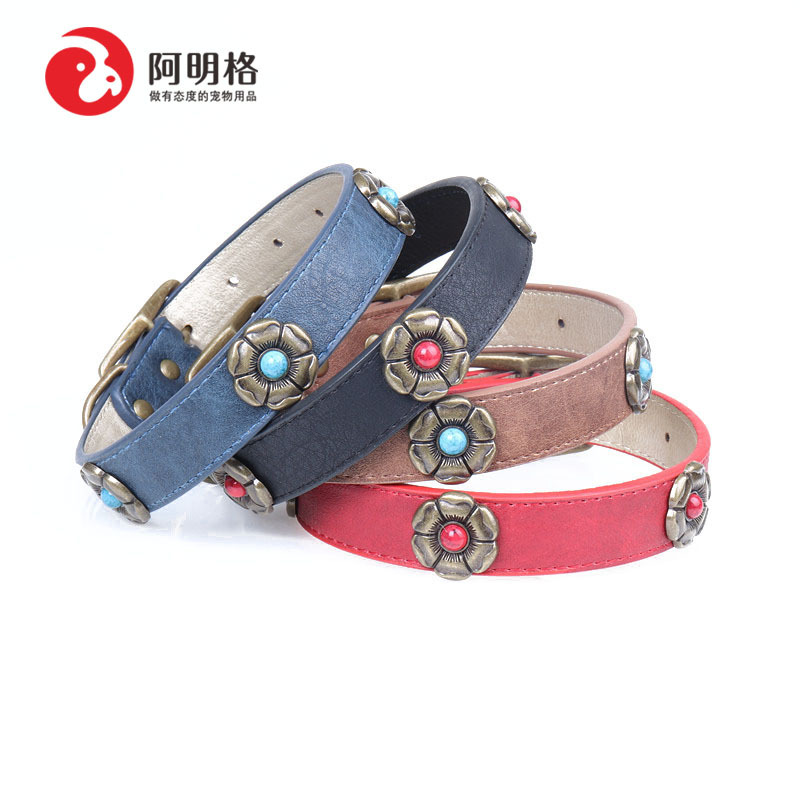 Amin Lattice New Style Origional Gem Flower Pet Dog Collar Pu Gou Neck Ring Bronze-