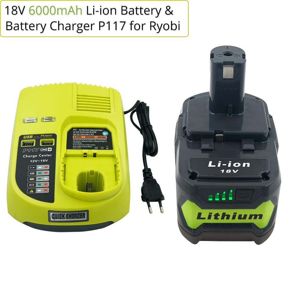 Para ryobi um + 18 v 6.0ah li ion bateria recarregável p108 + novo carregador p117 para ryobi 9.6 v 18 v ni cad ni mh li ion bateria