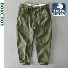Pantaloni da uomo in puro cotone tinta unita primavera uomo stile coreano uomo Casual cintura allentata vita media pantaloni Slim Fit a matita Z329