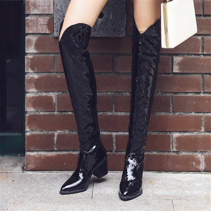 Meotina/зимние ботинки в западном стиле Женские Сапоги выше колена на Высоком толстом каблуке с принтом змеи высокие ботинки с острым носком женские осенние Размеры 4-12