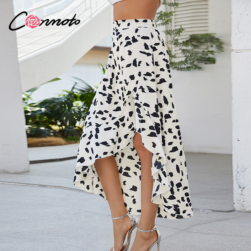 Conmoto Casual High Waist Summer 2020 Skirts Plus Size Ladies Ruffles Skirt Slit Sexy Split Leopard Casual Plus Size Skirts
