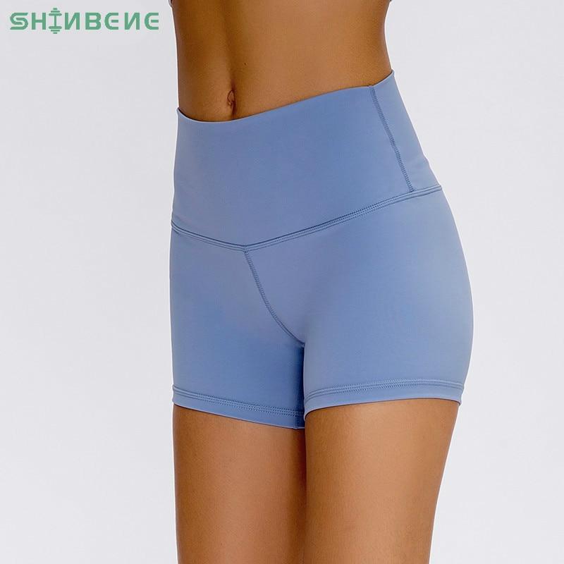 SHINBENE CAMO Prints High Waist Fitness Workout Shorts Women Naked-feel Fabric Plain Squatproof Yoga Trainning Sport Shorts