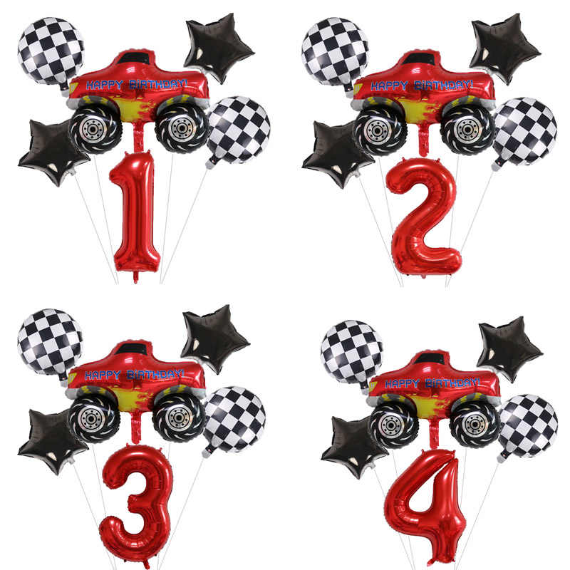 Racing Car Party Decoraties Blaze Monster Machines Nummer Ballonnen Set Verjaardagsfeestje Jongens Gunsten Vlaggen Baby Shower Benodigdheden