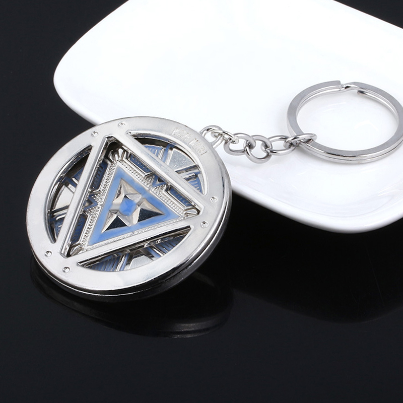Avengers Iron Man Arc Reactor Keychain Superhero Tony Stark Luminous Key Chain Car Men Women Movie Jewelry Accessories